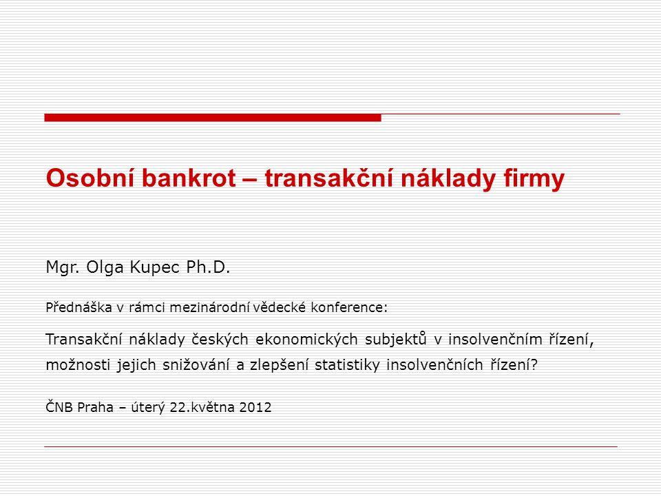 Osobní bankrot transakční náklady firmy Zdroj: Insolvenční rejstřík, vlastní výpočty CCB-Czech Credit Bureau, a.s.