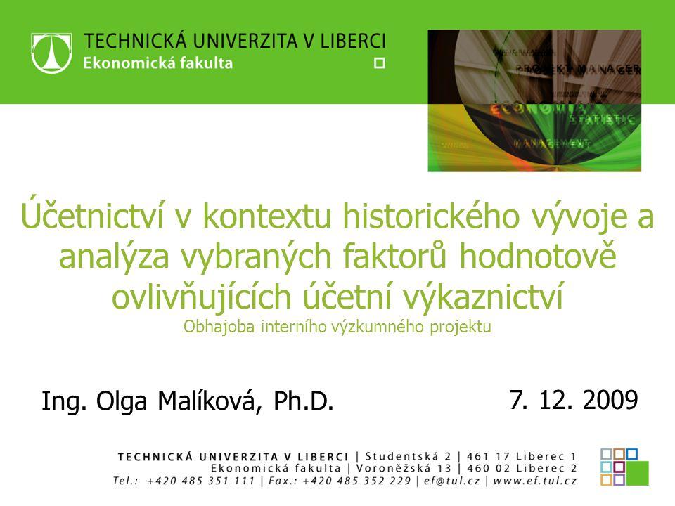 OBHAJOBA INTERNÍHO VÝZKUMNÉHO PROJEKTU Olga Malíková Řešitelský kolektiv: Ing.