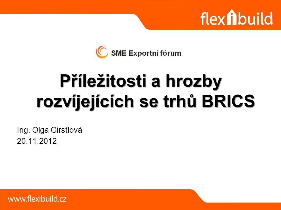 Příležitosti a hrozby rozvíjejících se trhů BRICS Ing. Olga Girstlová 20.11.2012