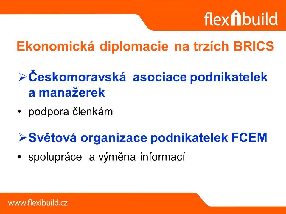  Českomoravská asociace podnikatelek a manažerek podpora členkám  Světová organizace podnikatelek FCEM spolupráce a výměna informací Ekonomická diplomacie na trzích BRICS
