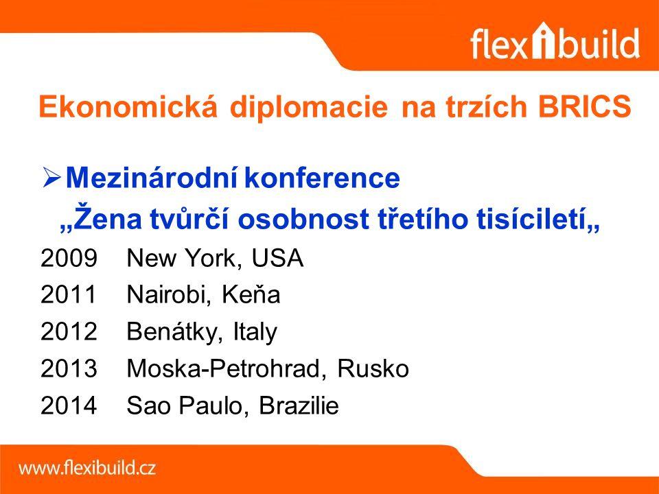 """ Mezinárodní konference """"Žena tvůrčí osobnost třetího tisíciletí"""" 2009 New York, USA 2011 Nairobi, Keňa 2012 Benátky, Italy 2013 Moska-Petrohrad, Rusko 2014 Sao Paulo, Brazilie Ekonomická diplomacie na trzích BRICS"""