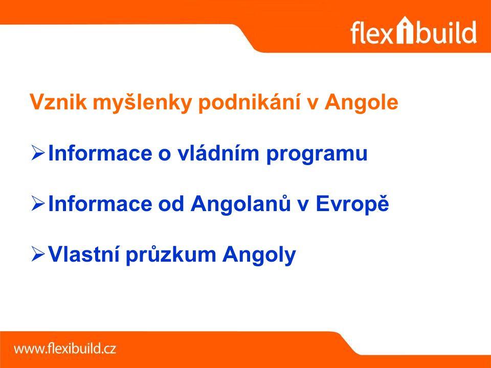 Vznik myšlenky podnikání v Angole  Informace o vládním programu  Informace od Angolanů v Evropě  Vlastní průzkum Angoly
