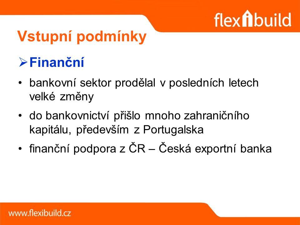  Finanční bankovní sektor prodělal v posledních letech velké změny do bankovnictví přišlo mnoho zahraničního kapitálu, především z Portugalska finanční podpora z ČR – Česká exportní banka Vstupní podmínky