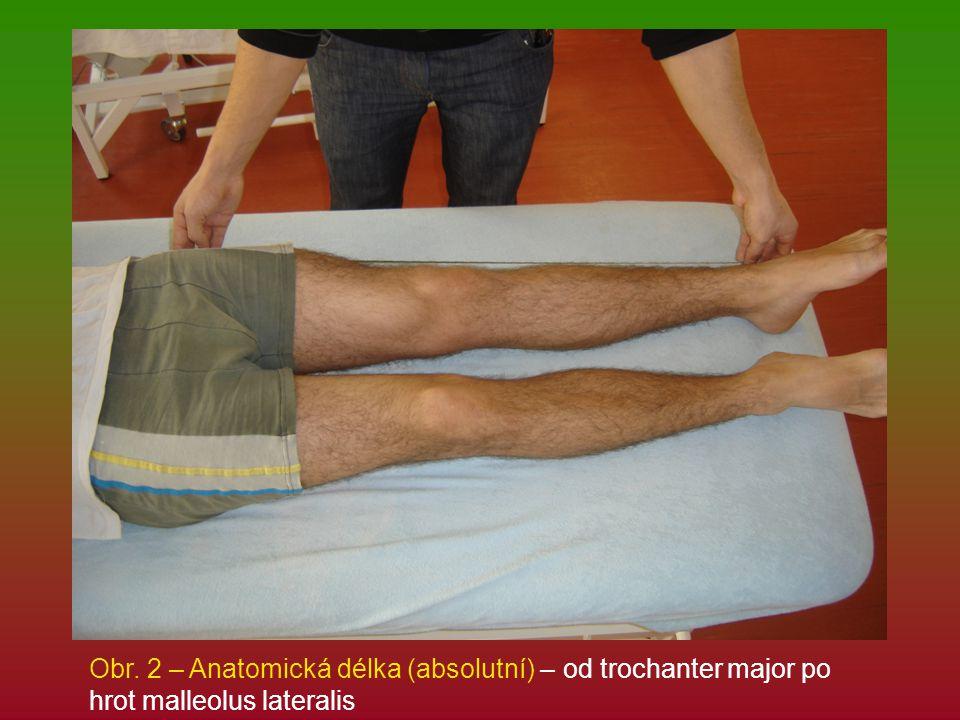 Obr. 2 – Anatomická délka (absolutní) – od trochanter major po hrot malleolus lateralis