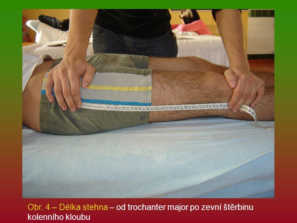 Obr. 4 – Délka stehna – od trochanter major po zevní štěrbinu kolenního kloubu