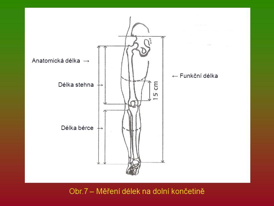 ← Funkční délka Anatomická délka → Délka stehna → Délka bérce → Obr.7 – Měření délek na dolní končetině