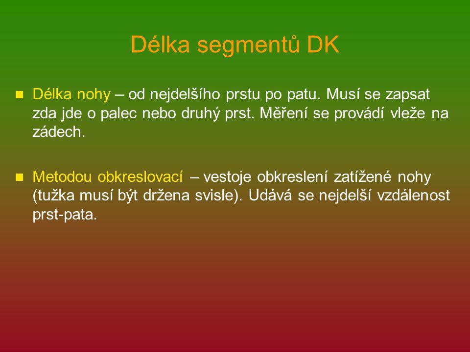 Délka segmentů DK Délka nohy – od nejdelšího prstu po patu. Musí se zapsat zda jde o palec nebo druhý prst. Měření se provádí vleže na zádech. Metodou