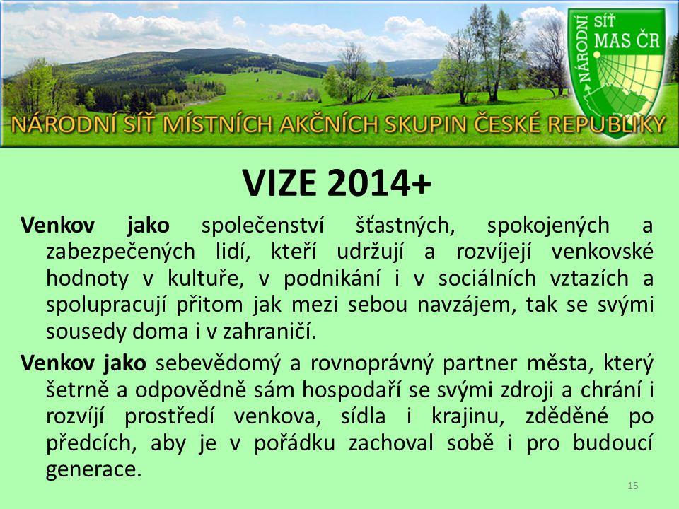VIZE 2014+ Venkov jako společenství šťastných, spokojených a zabezpečených lidí, kteří udržují a rozvíjejí venkovské hodnoty v kultuře, v podnikání i v sociálních vztazích a spolupracují přitom jak mezi sebou navzájem, tak se svými sousedy doma i v zahraničí.