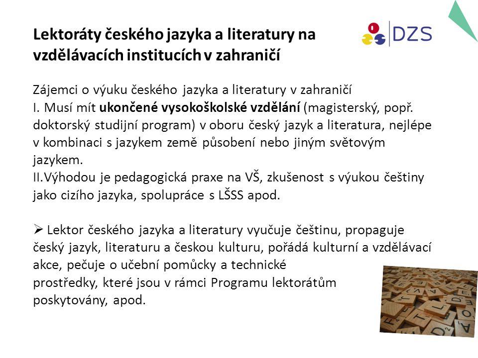 Zájemci o výuku českého jazyka a literatury v zahraničí I.