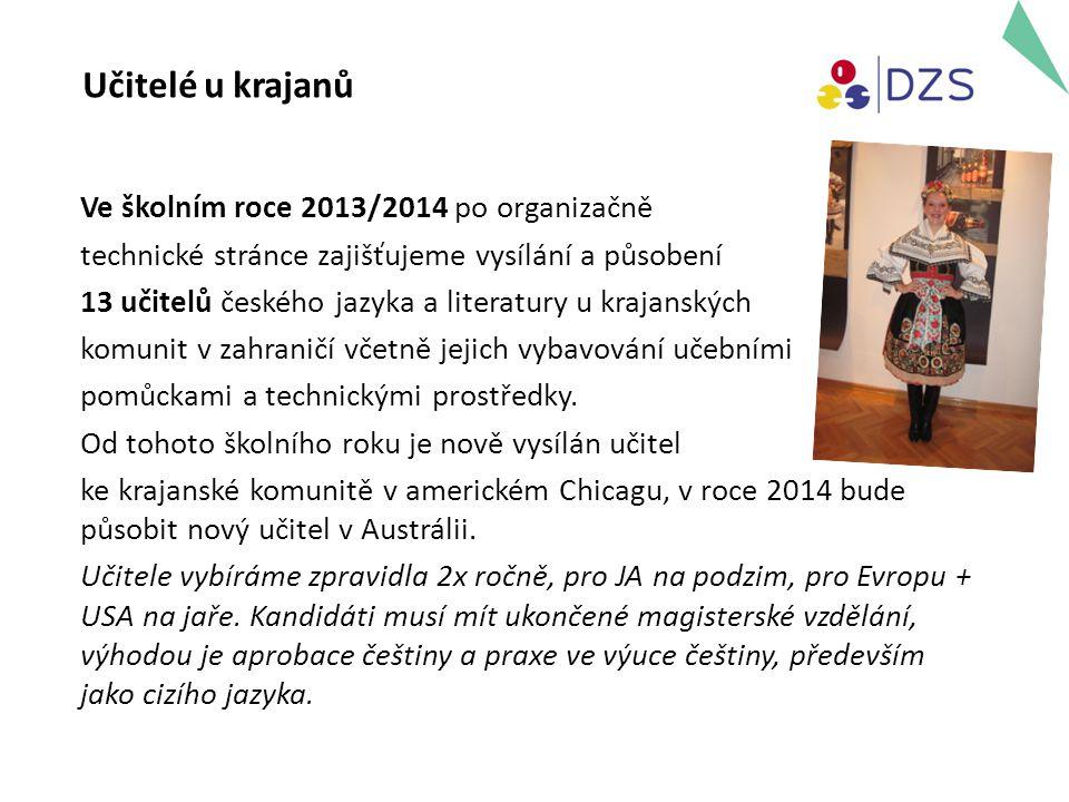Země a místa působení učitelů u krajanských komunit 2013/2014 Evropa Chorvatsko:Daruvar a okolí (2 učitelé) Rumunsko: Svatá Helena, Gerník (1 učitel) Eibenthal (1 učitel) Rusko: Novorossijsk a okolí (1 učitel) Ukrajina: Čechohrad a okolí (1 učitel) Srbsko:Bela Crkva a okolí (1 učitel) Severní AmerikaUSA/Chicago (1 učitel) Jižní Amerika Argentina: Buenos Aires, Santa Fe, Rosario (1 učitel) Chaco – Saenz Pena, Resistencia, Pampa del Indio (1 učitel) Brazílie: Sao Paulo (1 učitel) Mato Grosso do Sul – Bataypora, Nova Andradina, Rio Grande do Sul – Porto Alegre, Nova Petrópolis (1 učitel) Paraguay: Itapua – Coronel Bogado, Encarnacion, Carmen del Parana (1 učitel); 2014 sloučení destinací Paraguay a Chaco Austrálie:nová destinace – Melbourne, Perth