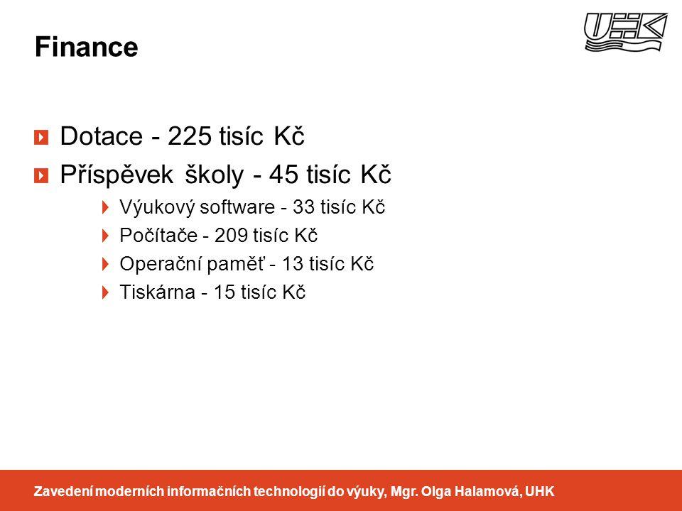 Finance Zavedení moderních informačních technologií do výuky, Mgr. Olga Halamová, UHK Dotace - 225 tisíc Kč Příspěvek školy - 45 tisíc Kč Výukový soft