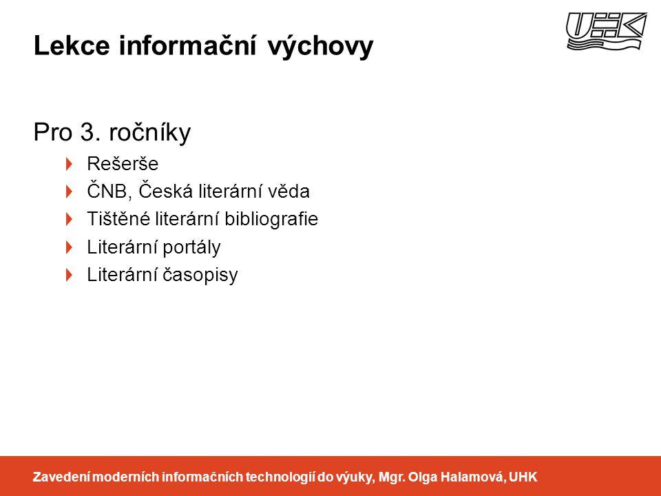 Lekce informační výchovy Pro 3.