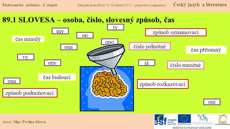 89.1 SLOVESA – osoba, číslo, slovesný způsob, čas Elektronická učebnice - I.