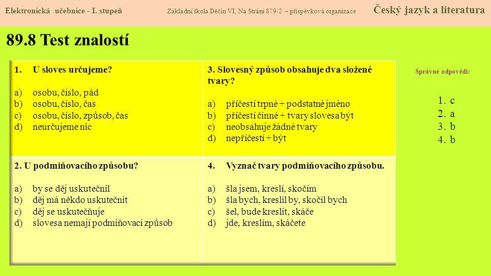 89.8 Test znalostí Elektronická učebnice - I.