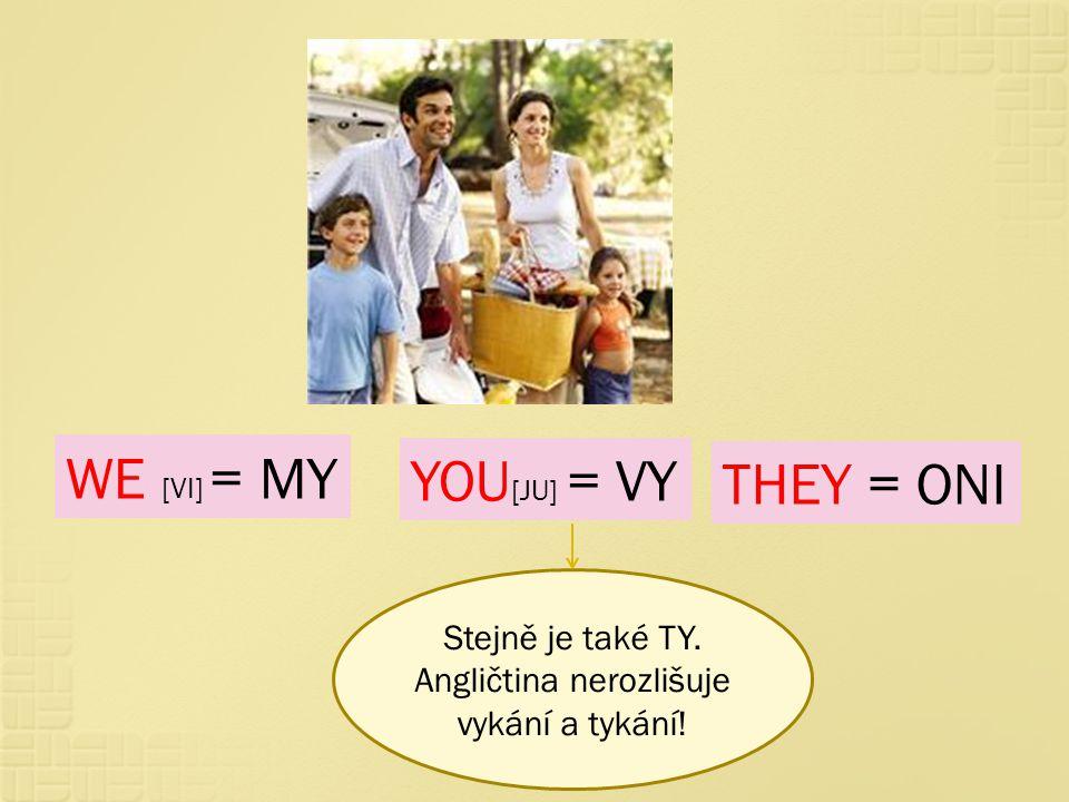 WE [VI] = MY YOU [JU] = VY THEY = ONI Stejně je také TY. Angličtina nerozlišuje vykání a tykání!