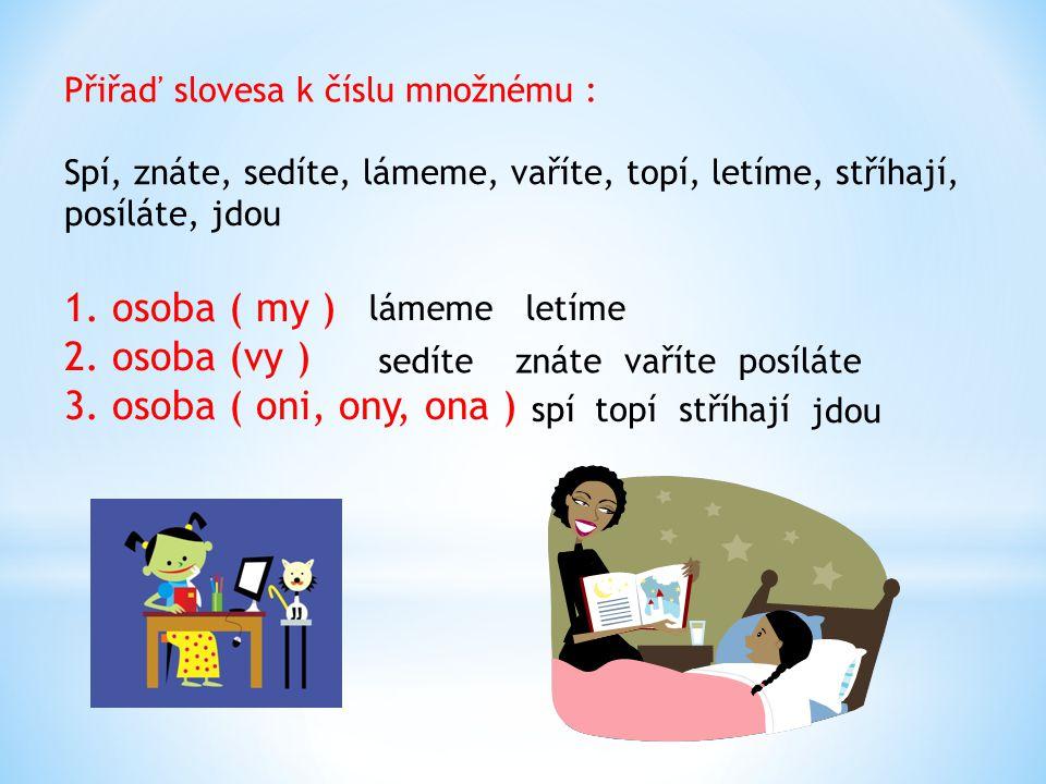 Přiřaď slovesa k číslu množnému : Spí, znáte, sedíte, lámeme, vaříte, topí, letíme, stříhají, posíláte, jdou 1. osoba ( my ) 2. osoba (vy ) 3. osoba (