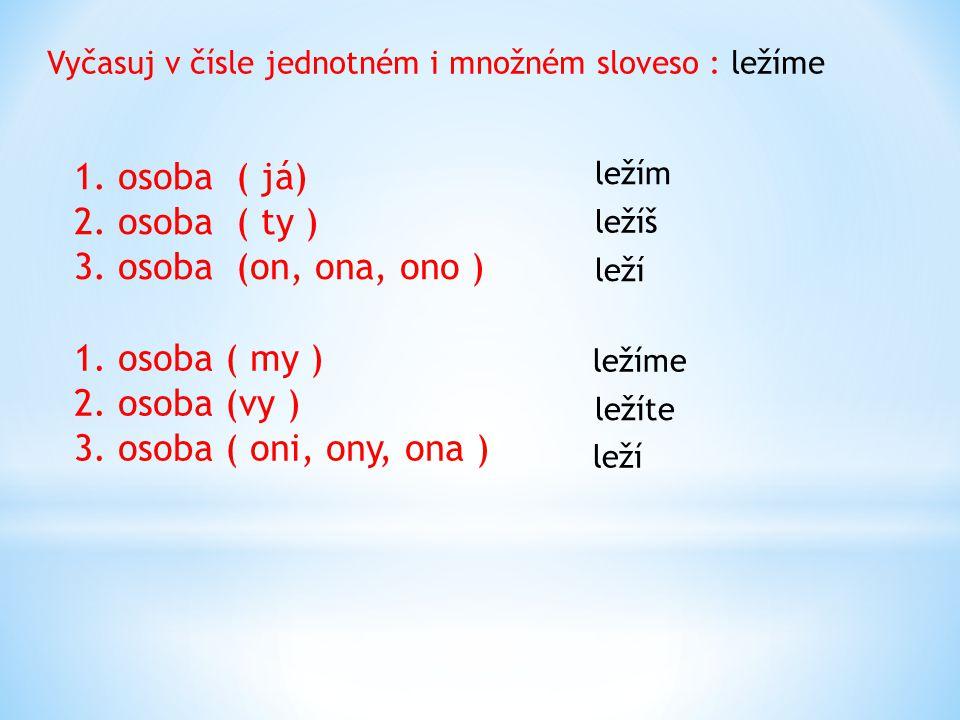 Vyčasuj v čísle jednotném i množném sloveso : ležíme 1. osoba ( já) 2. osoba ( ty ) 3. osoba (on, ona, ono ) 1. osoba ( my ) 2. osoba (vy ) 3. osoba (
