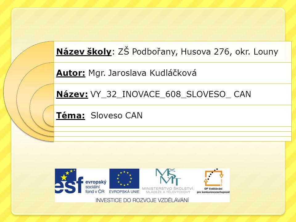 Název školy: ZŠ Podbořany, Husova 276, okr. Louny Autor: Mgr. Jaroslava Kudláčková Název: VY_32_INOVACE_608_SLOVESO_ CAN Téma: Sloveso CAN