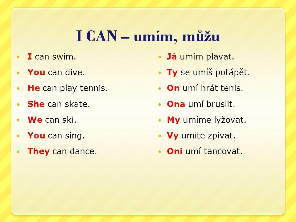 I CAN – umím, m ů žu I can swim. You can dive. He can play tennis. She can skate. We can ski. You can sing. They can dance. Já umím plavat. Ty se umíš
