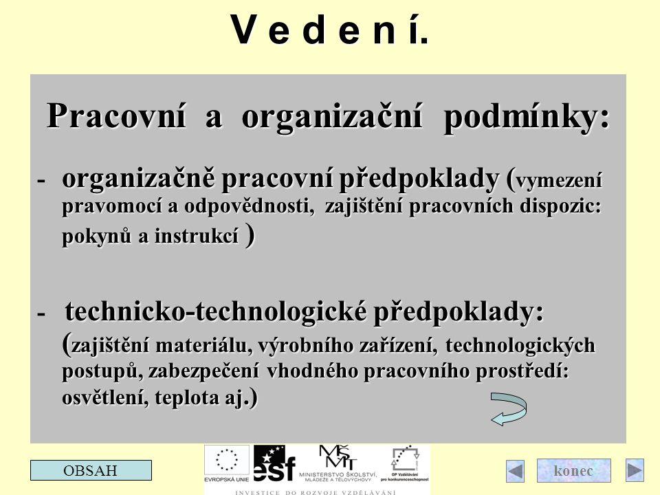 V e d e n í. Pracovní a organizační podmínky: organizačně pracovní předpoklady ( vymezení pravomocí a odpovědnosti, zajištění pracovních dispozic: pok