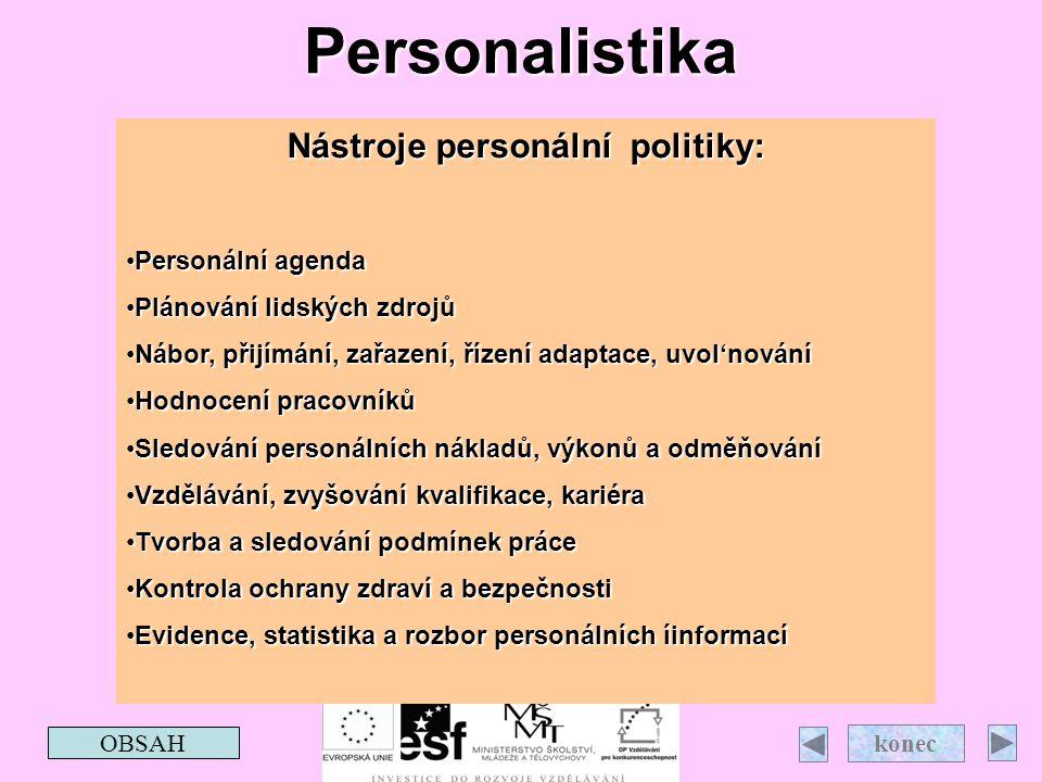 Personalistika OBSAH konecNástroje personální politiky: Personální agenda Plánování lidských zdrojů Nábor, přijímání, zařazení, řízení adaptace, uvol'