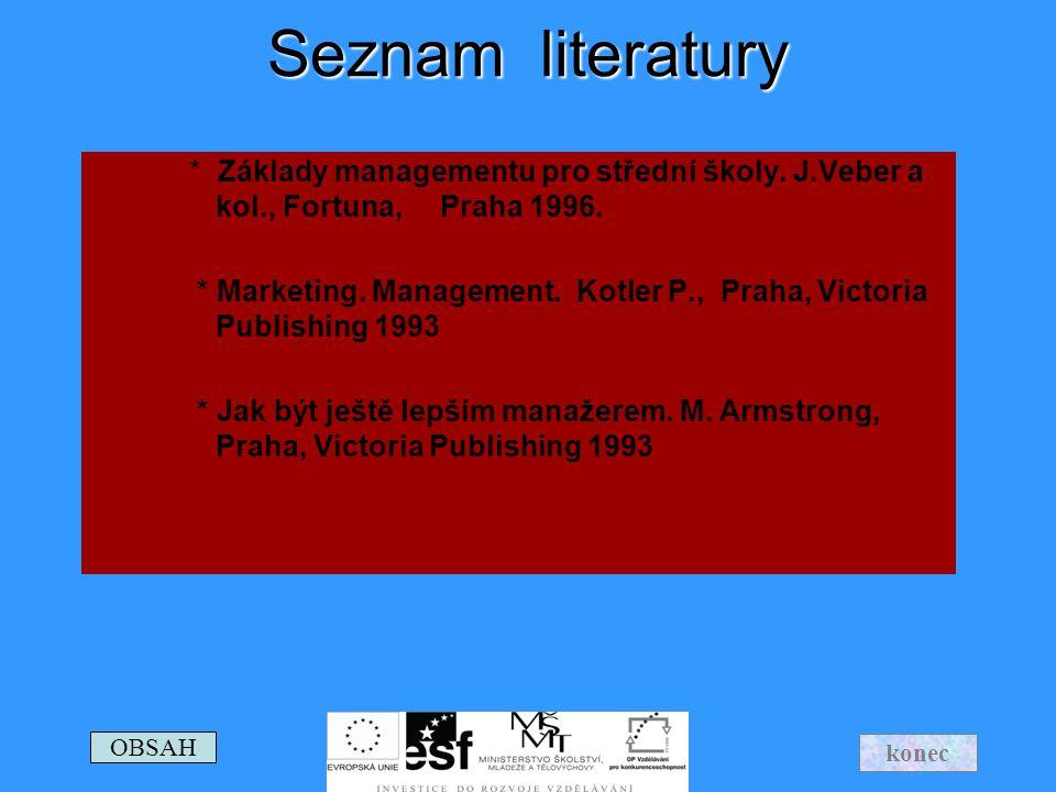 Seznam literatury * Základy managementu pro střední školy. J.Veber a kol., Fortuna, Praha 1996. * Marketing. Management. Kotler P., Praha, Victoria Pu