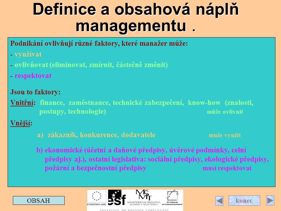 Definice a obsahová náplň managementu. OBSAH konec Podnikání ovlivňují různé faktory, které manažer může: - využívat - ovlivňovat (eliminovat, zmírnit