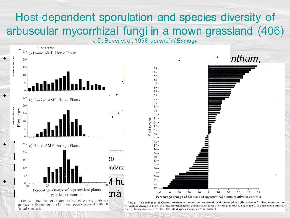 Studie konkrétního vztahu 4 druhů rostlin (Anthoxanthum, Panicum, Allium, Plantago) a jednotlivých taxonů AM hub (neizolovány) – kombinace skleníku a terénu (plocha 5x15 m) Specificita vztahu v terénu studována třemi způsoby: –trap cultures se Sorghum (hlína a kořeny od jedinců 4 druhů rostlin) –transplant trap cultures (jedinci 4 druhů přesazeni do steril.