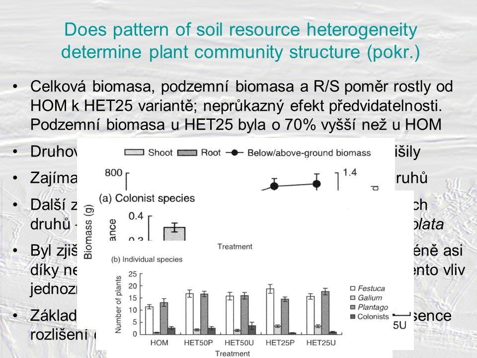 Does pattern of soil resource heterogeneity determine plant community structure (pokr.) Celková biomasa, podzemní biomasa a R/S poměr rostly od HOM k HET25 variantě; neprůkazný efekt předvidatelnosti.