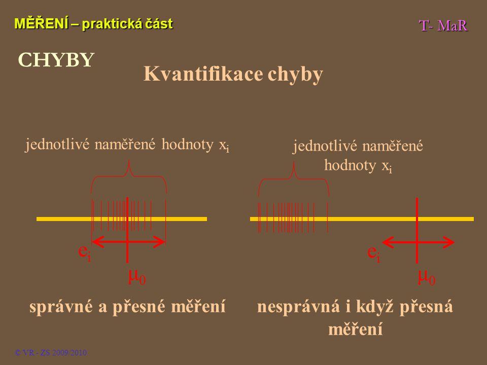 T- MaR MĚŘENÍ – praktická část © VR - ZS 2009/2010 CHYBY Kvantifikace chyby μ0μ0 jednotlivé naměřené hodnoty x i eiei správné a přesné měření μ0μ0 jed
