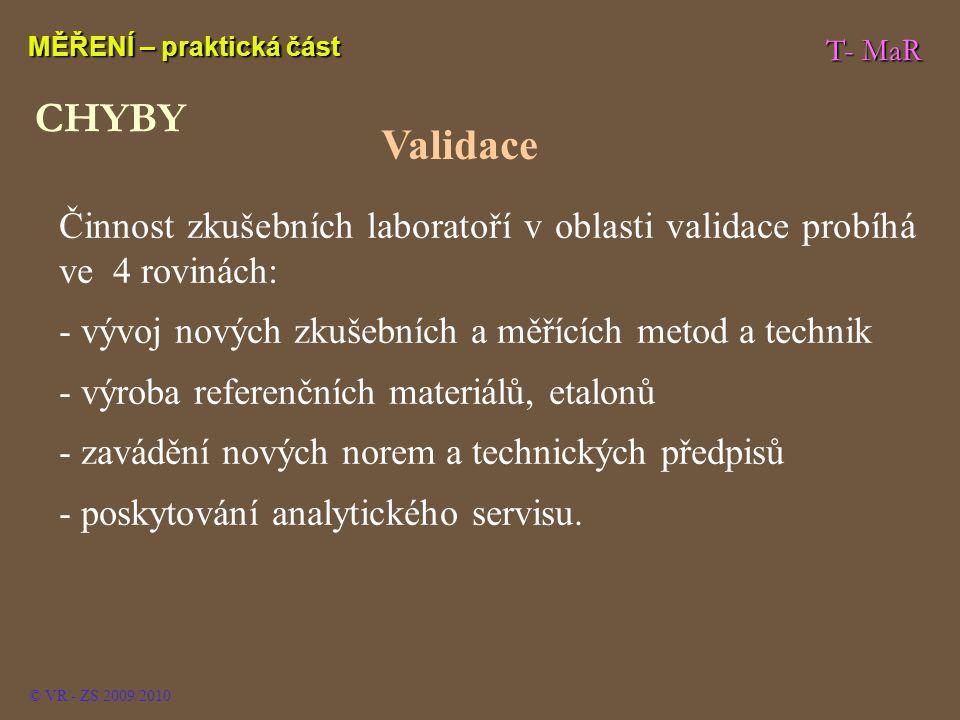 T- MaR MĚŘENÍ – praktická část © VR - ZS 2009/2010 Činnost zkušebních laboratoří v oblasti validace probíhá ve 4 rovinách: - vývoj nových zkušebních a