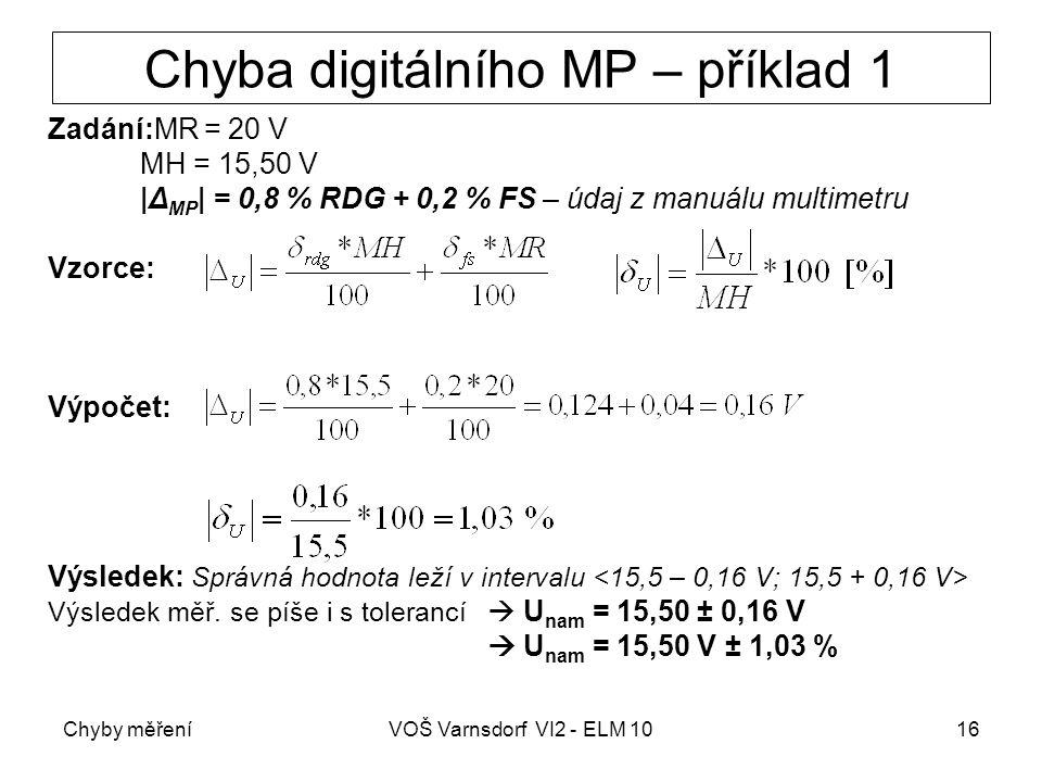 Chyby měřeníVOŠ Varnsdorf VI2 - ELM 1016 Chyba digitálního MP – příklad 1 Zadání:MR = 20 V MH = 15,50 V |Δ MP | = 0,8 % RDG + 0,2 % FS – údaj z manuál