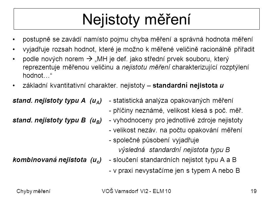 Chyby měřeníVOŠ Varnsdorf VI2 - ELM 1019 Nejistoty měření postupně se zavádí namísto pojmu chyba měření a správná hodnota měření vyjadřuje rozsah hodn