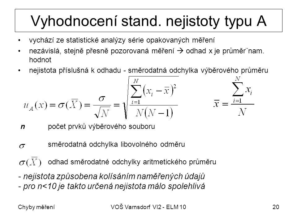 Chyby měřeníVOŠ Varnsdorf VI2 - ELM 1020 Vyhodnocení stand. nejistoty typu A vychází ze statistické analýzy série opakovaných měření nezávislá, stejně