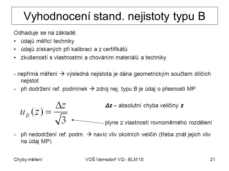 Chyby měřeníVOŠ Varnsdorf VI2 - ELM 1021 Vyhodnocení stand. nejistoty typu B Odhaduje se na základě: údajů měřicí techniky údajů získaných při kalibra