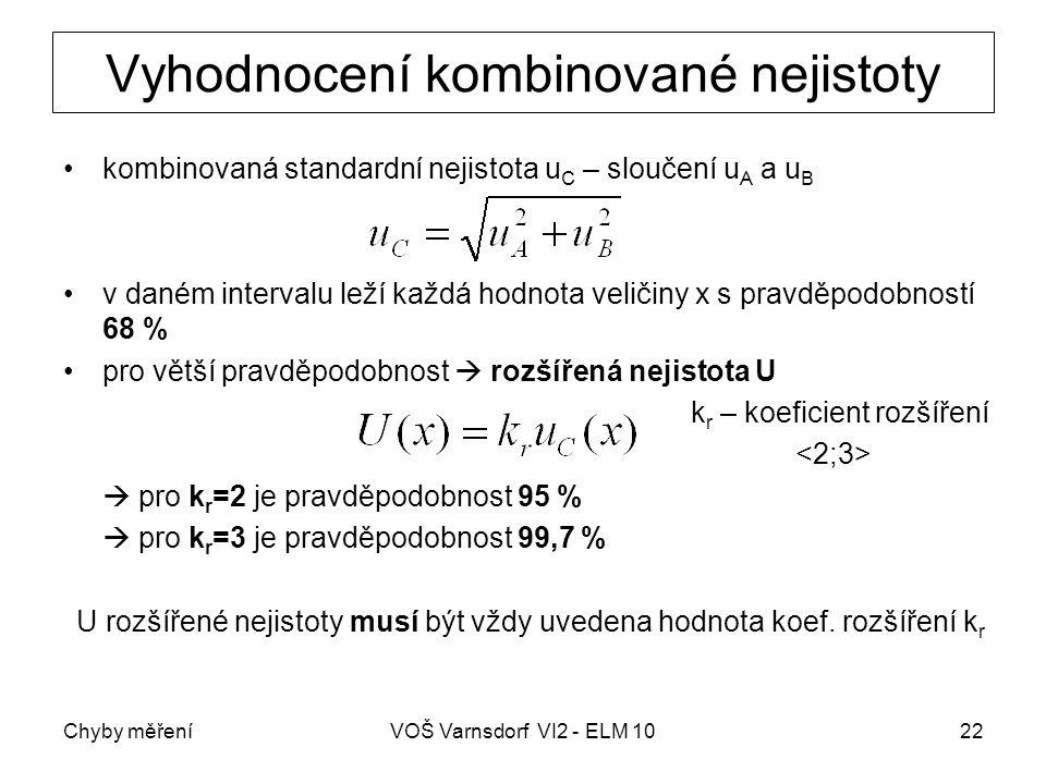 Chyby měřeníVOŠ Varnsdorf VI2 - ELM 1022 Vyhodnocení kombinované nejistoty kombinovaná standardní nejistota u C – sloučení u A a u B v daném intervalu