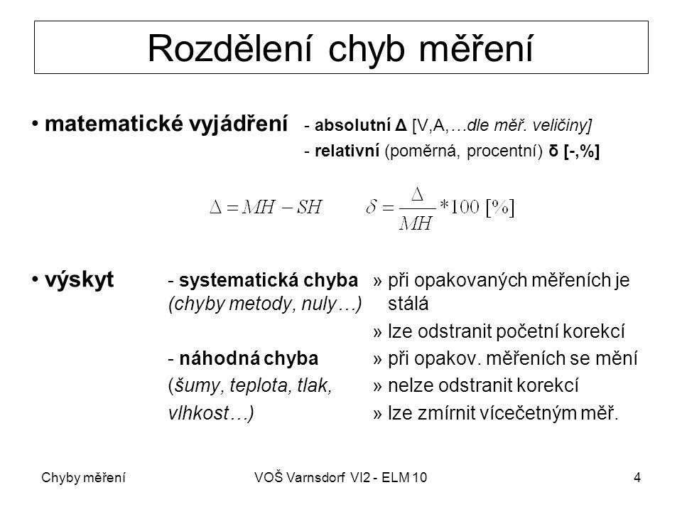 Chyby měřeníVOŠ Varnsdorf VI2 - ELM 105 Výpočet chyby měření - příklad naměřená hodnota  MH = 25 V konvenčně správná hodnota  SH = 26 V absolutní chyba měření relativní chyba měření Je-li známa SH  relaci u výpočtu relativní chyby vztahujeme k SH, jinak dosazujeme MH
