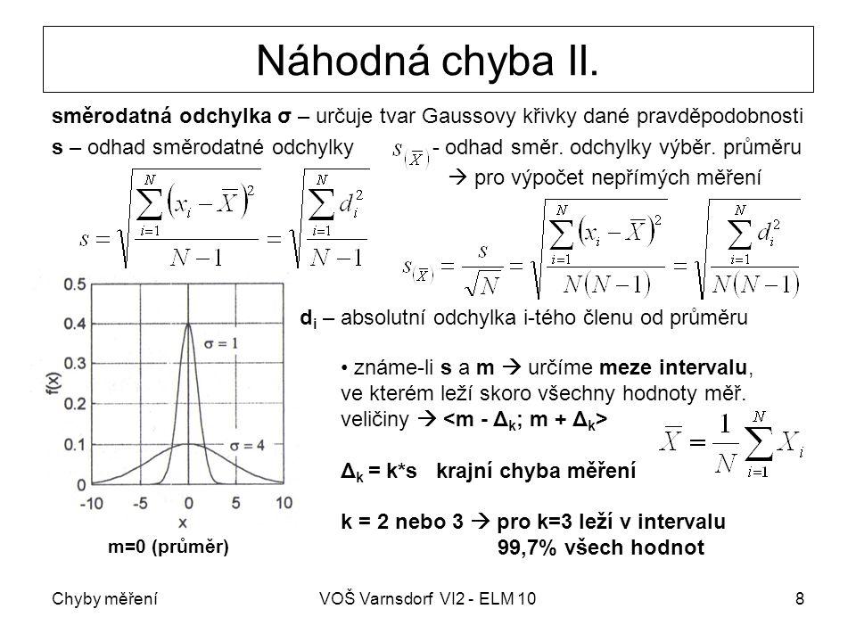 Chyby měřeníVOŠ Varnsdorf VI2 - ELM 108 Náhodná chyba II. směrodatná odchylka σ – určuje tvar Gaussovy křivky dané pravděpodobnosti s – odhad směrodat