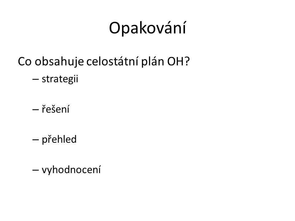 Opakování Co obsahuje celostátní plán OH.