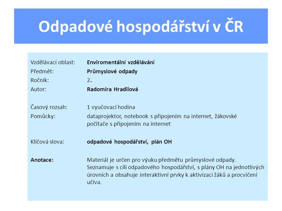 Odpadové hospodářství v ČR Vzdělávací oblast:Enviromentální vzdělávání Předmět:Průmyslové odpady Ročník:2.