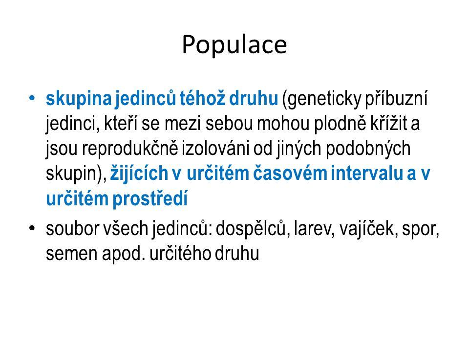 Populace Lokální – např.populace raka říčního v určité oblasti Celosvětová – např.