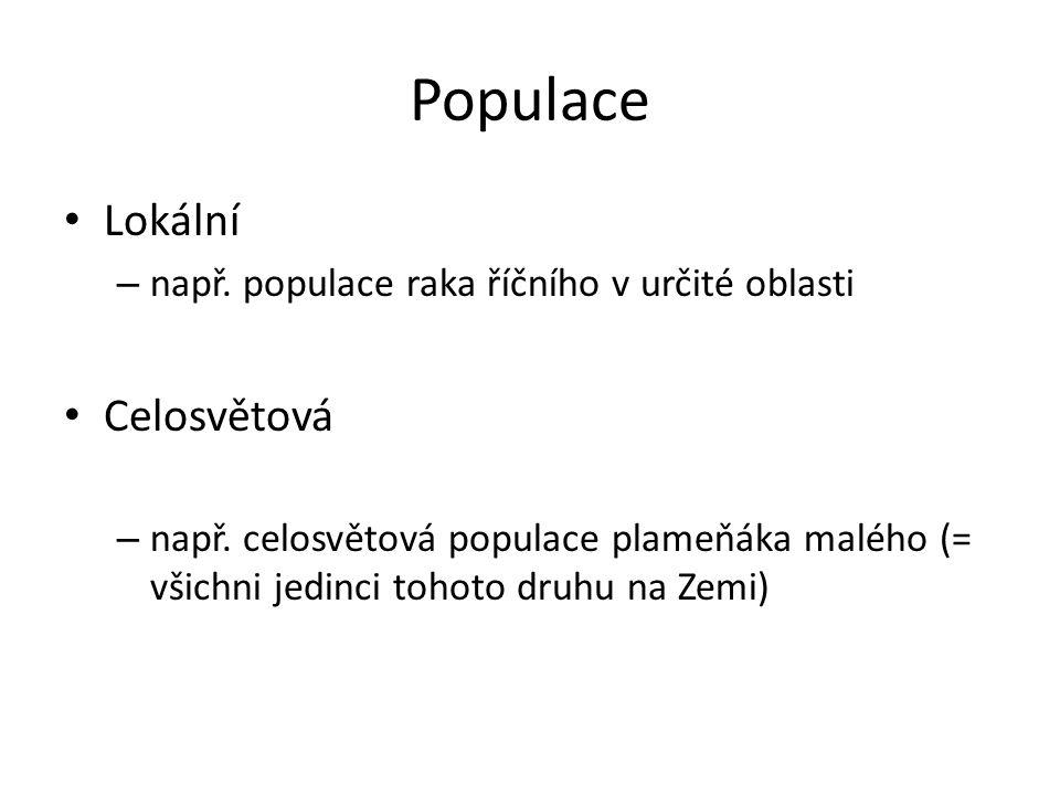 Populace Lokální – např. populace raka říčního v určité oblasti Celosvětová – např.