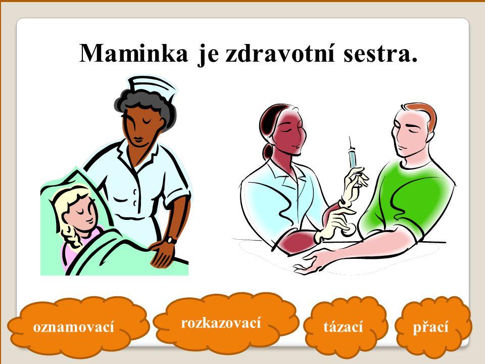 oznamovací rozkazovací tázacípřací Maminka je zdravotní sestra.