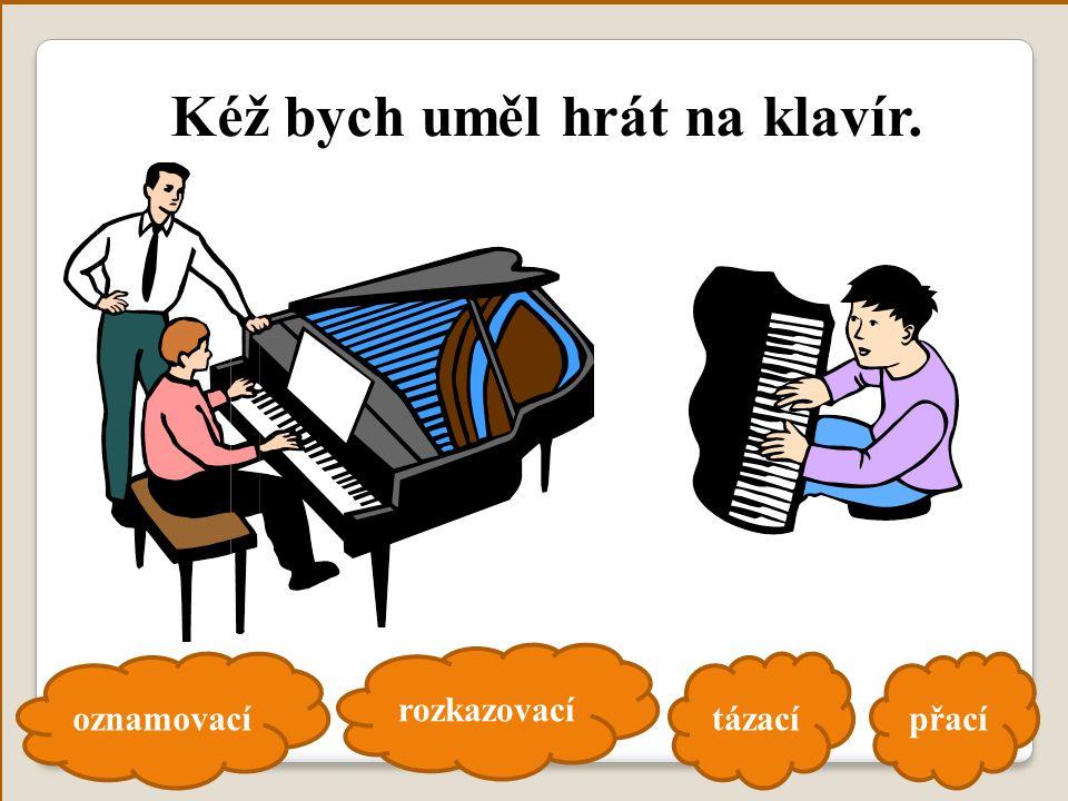 oznamovací rozkazovací tázacípřací Kéž bych uměl hrát na klavír.