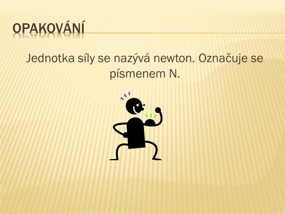 Jednotka síly se nazývá newton. Označuje se písmenem N.