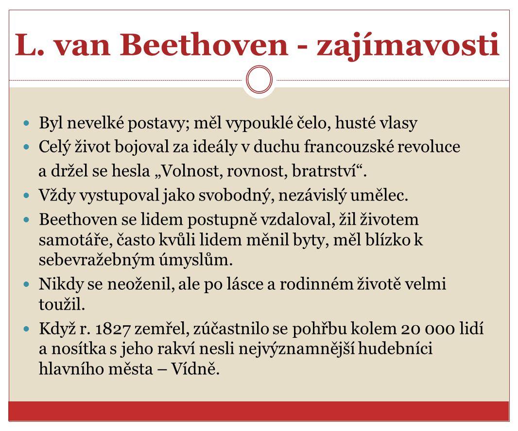 Ludwig van Beethoven - dílo Svá díla dlouho promýšlel, připravoval si k nim tematický materiál, který mnohokráte měnil.