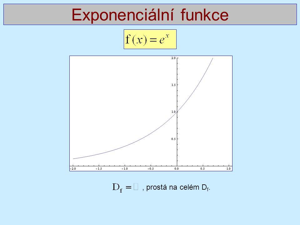 , prostá na celém D f. Exponenciální funkce
