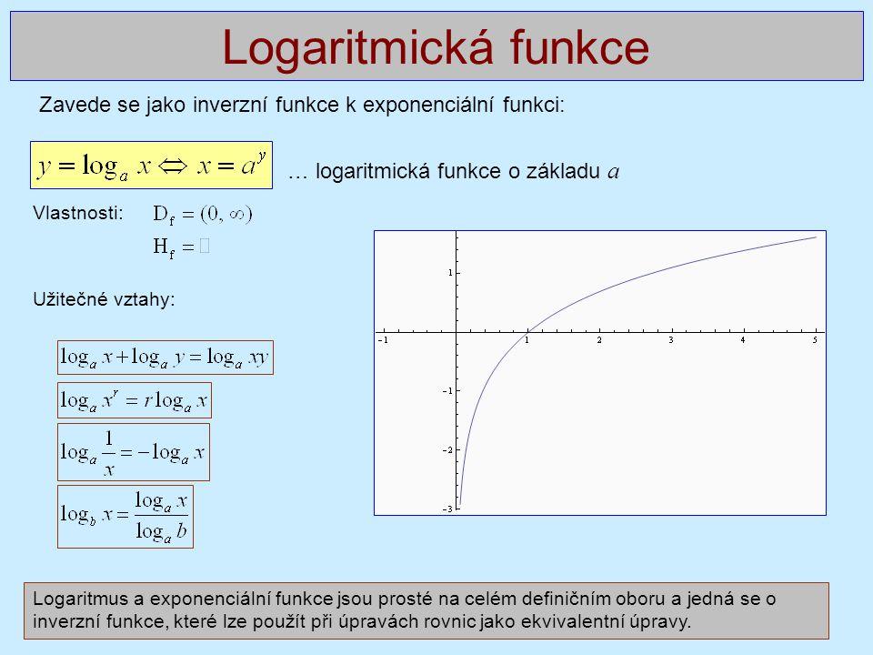 Zavede se jako inverzní funkce k exponenciální funkci: … logaritmická funkce o základu a Vlastnosti: Užitečné vztahy: Logaritmická funkce Logaritmus a exponenciální funkce jsou prosté na celém definičním oboru a jedná se o inverzní funkce, které lze použít při úpravách rovnic jako ekvivalentní úpravy.