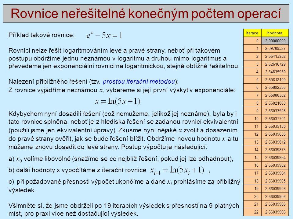 Příklad takové rovnice: Rovnici nelze řešit logaritmováním levé a pravé strany, neboť při takovém postupu obdržíme jednu neznámou v logaritmu a druhou mimo logaritmus a převedeme jen exponenciální rovnici na logaritmickou, stejně obtížně řešitelnou.