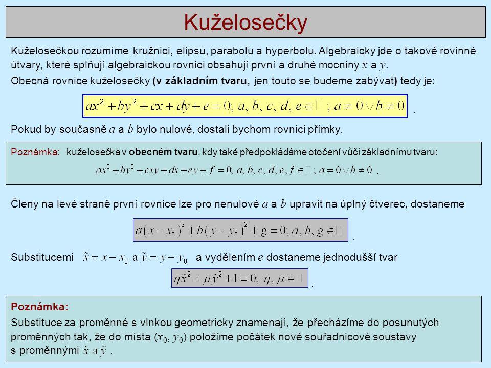 Kuželosečkou rozumíme kružnici, elipsu, parabolu a hyperbolu. Algebraicky jde o takové rovinné útvary, které splňují algebraickou rovnici obsahují prv